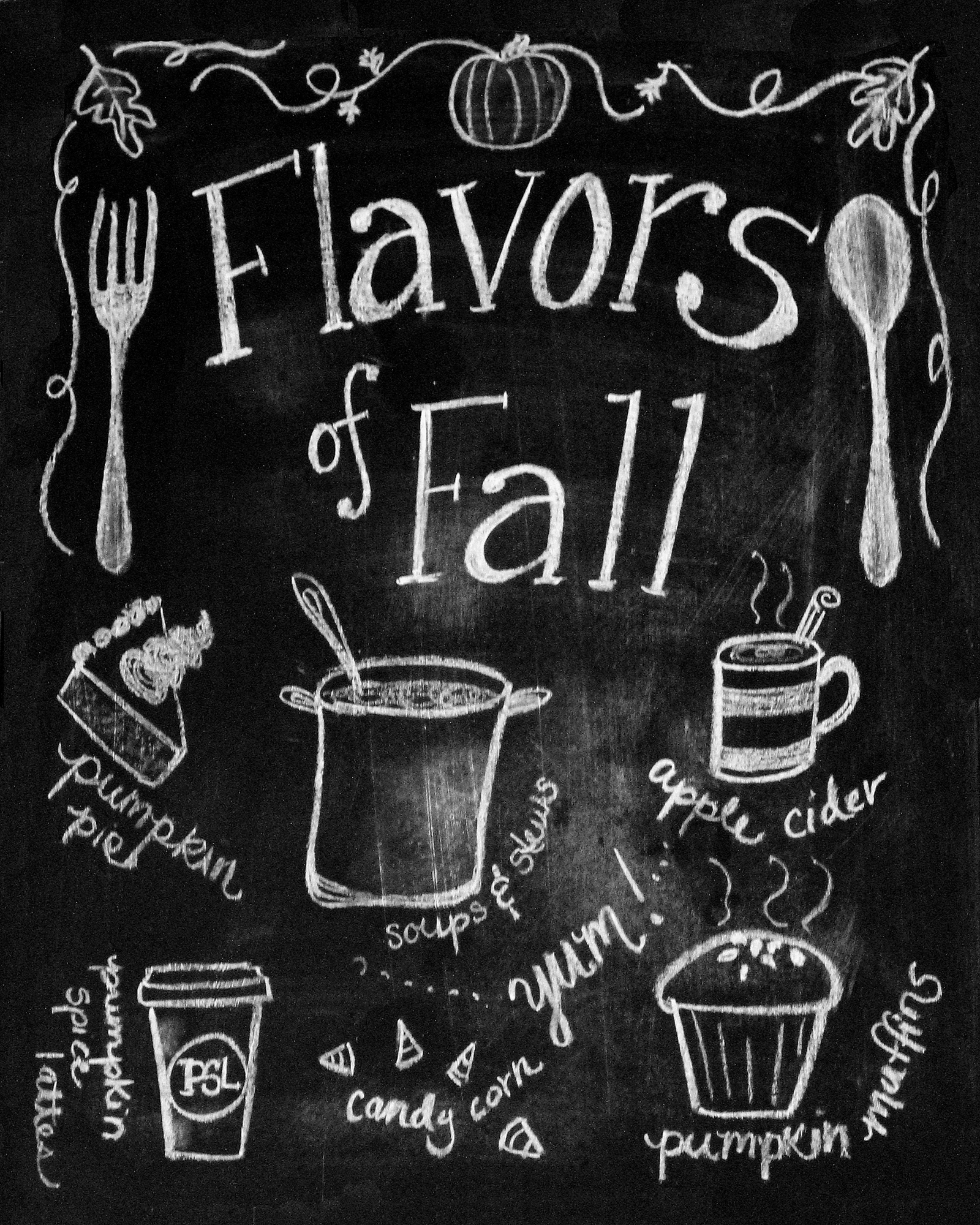 Fall Chalkboard Printable Free